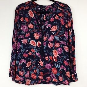 Lucky Brand Boho Floral Blouse Blue Color
